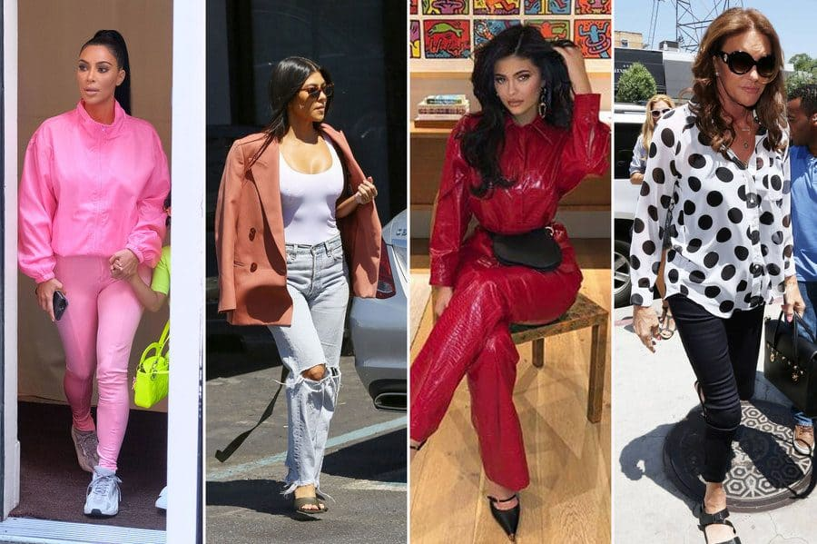 Kim Kardashian West out and about in New York in 2018. / Kourtney Kardashian out and about in light jeans, a white tank top, and a salmon-colored blazer. / Photos of Kylie Jenner in a red leather suit with black pointed heels. / Caitlyn Jenner in a black and white dotted blouse while filming her E! Docu-series on West Third Street.