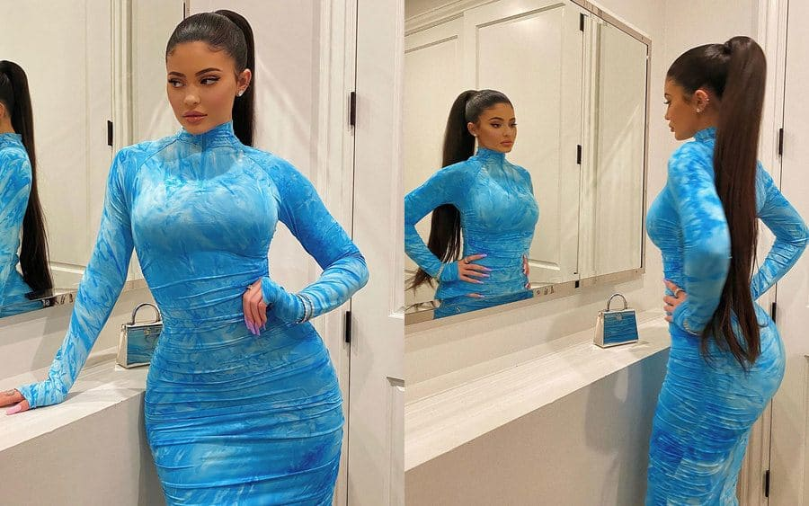 Two photographs from Kylie Jenner's Instagram in her blue dress.