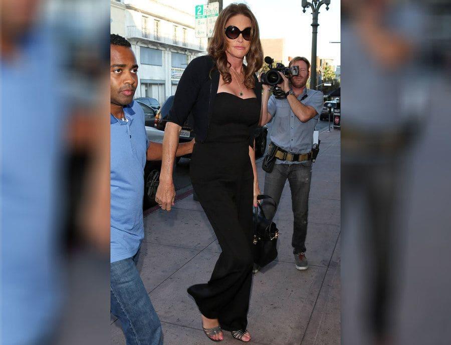 Caitlyn Jenner dressed in all black having dinner at Eva Longoria's restaurant Beso.