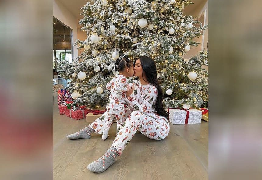 Kylie Jenner and her daughter turned around wearing matching Christmas outfits.