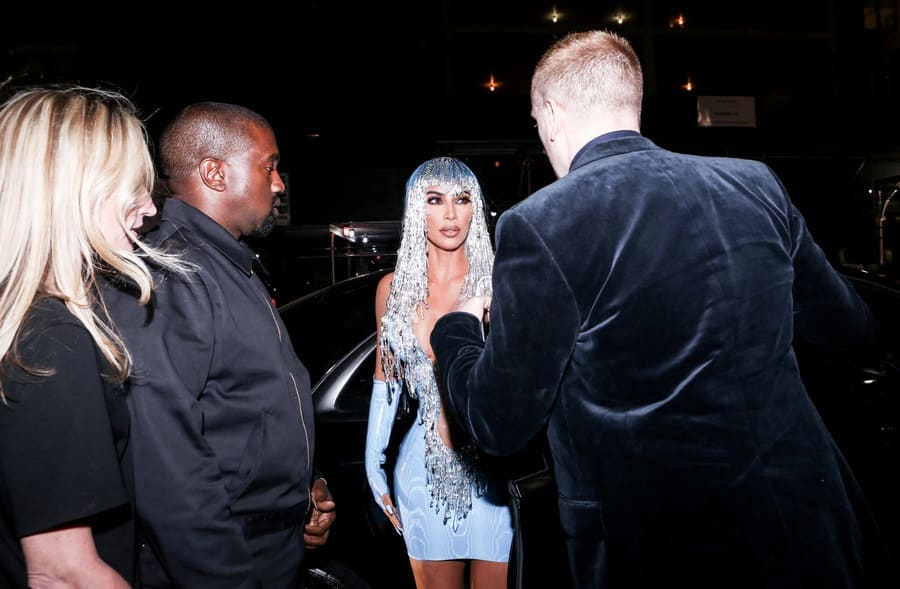 Kim and Kanye arriving at the Met Gala after-party in New York.
