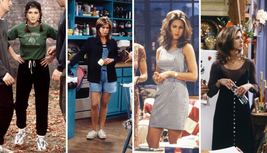 Rachel Green in the long-sleeved green shirt with black sweatpants. / Rachel Green standing and talking to Monica. / Rachel in a square printed black and white outfit and Monica in a red patterned dress. / Monica, Chandler, and Phoebe standing around Rachel Green dressed in all black, in a long-sleeved see-through shift with a long V-neck velvet dress with buttons down the front.