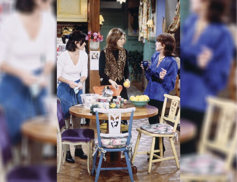 Monica and Rachel with guest star Marlo Thomas with Rachel wearing a leopard print vest.