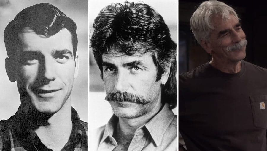 Sam Elliott's college yearbook photo at Clark College. / Sam Elliott in Mask with his infamous mustache. / Sam Elliott at Beau in The Ranch.