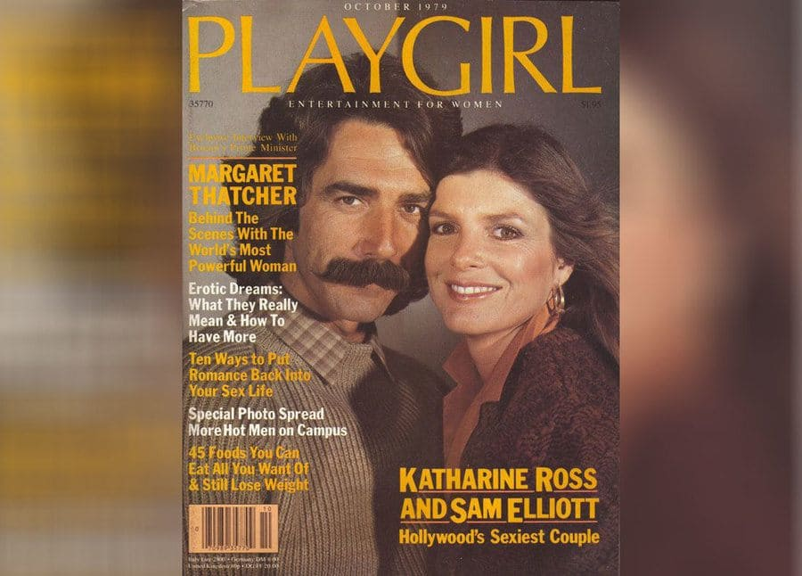 The cover of Playgirl Magazine's October 1979 cover with Katharine Ross and Sam Elliott.