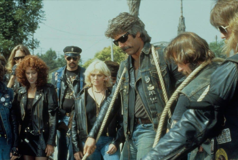 Sam Elliott with Cher and other co-stars in Mask.