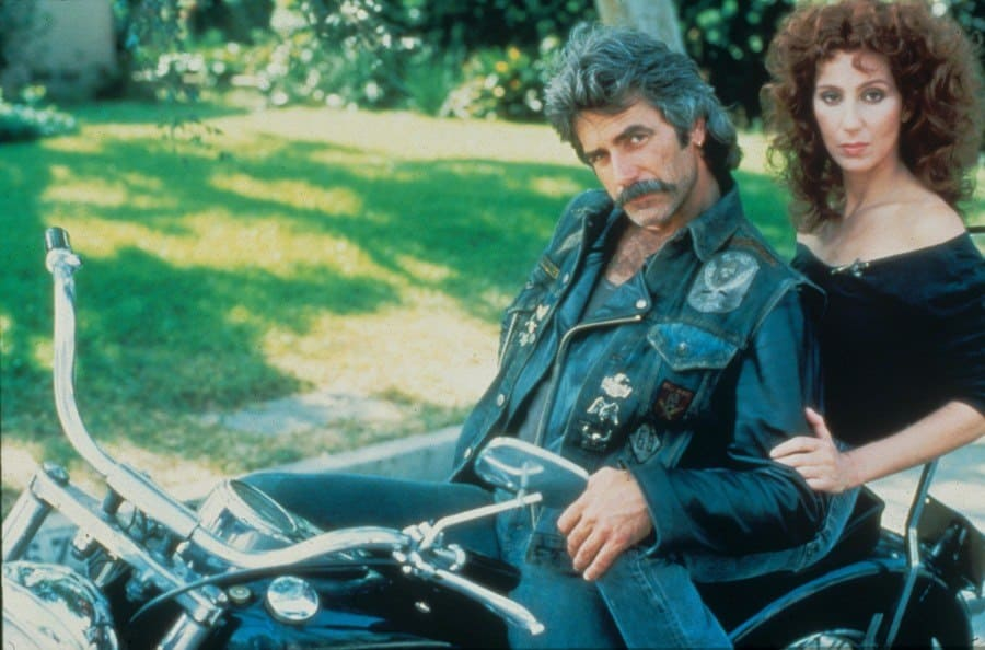 Sam Elliott with Cher on a bike in the movie Mask.