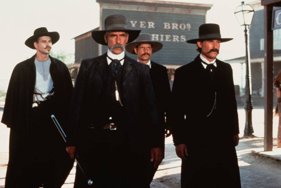 Val Kilmer, Sam Elliott, Bill Paxton, and Kurt Russell in Tombstone in 1993.