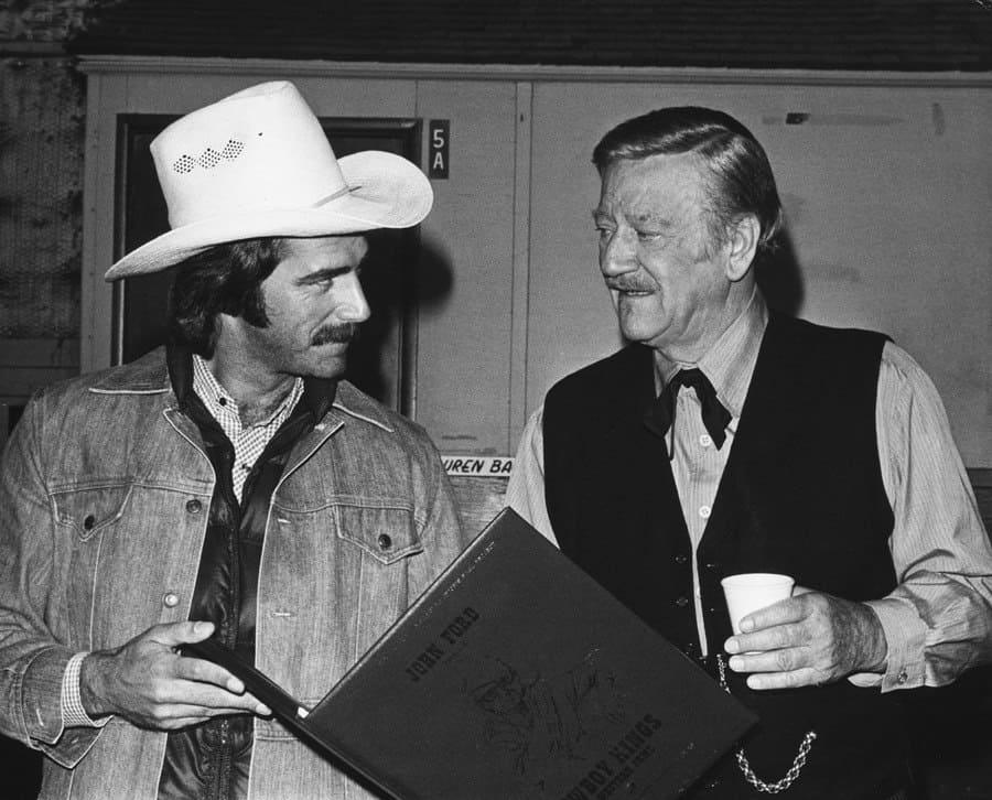 Sam Elliott and John Wayne in The Shootist in 1976.