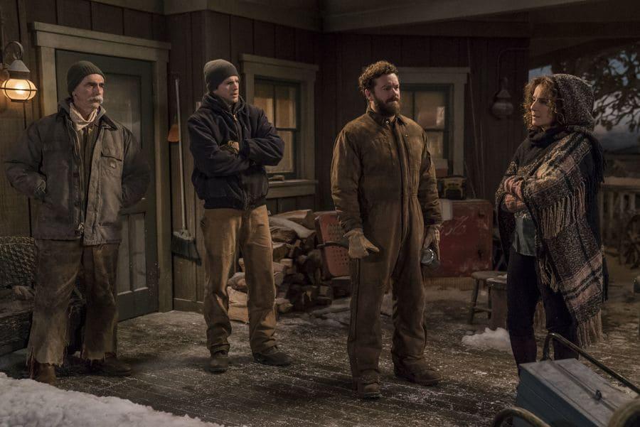 Sam Elliott with Ashton Kutcher, Danny Masterson, and Debra Winger in season 3 of The Ranch.