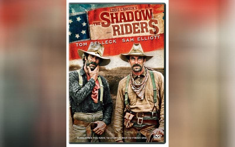 The cover of the DVD 'The Shadow Riders' with Tom Selleck and Sam Elliott.