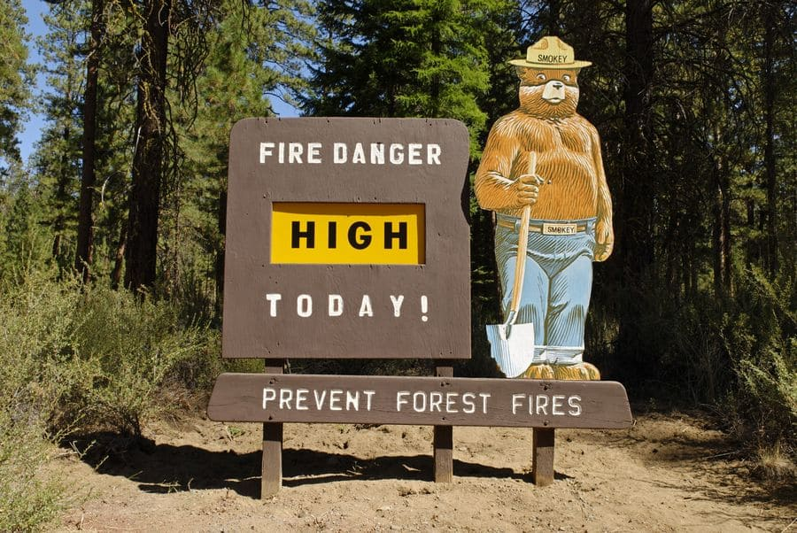 Smokey the Bear and an information sign about the danger of fire in the national forest in Oregon.