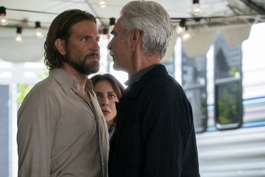 Sam Elliott and Bradley Cooper from a scene in A Star is Born.