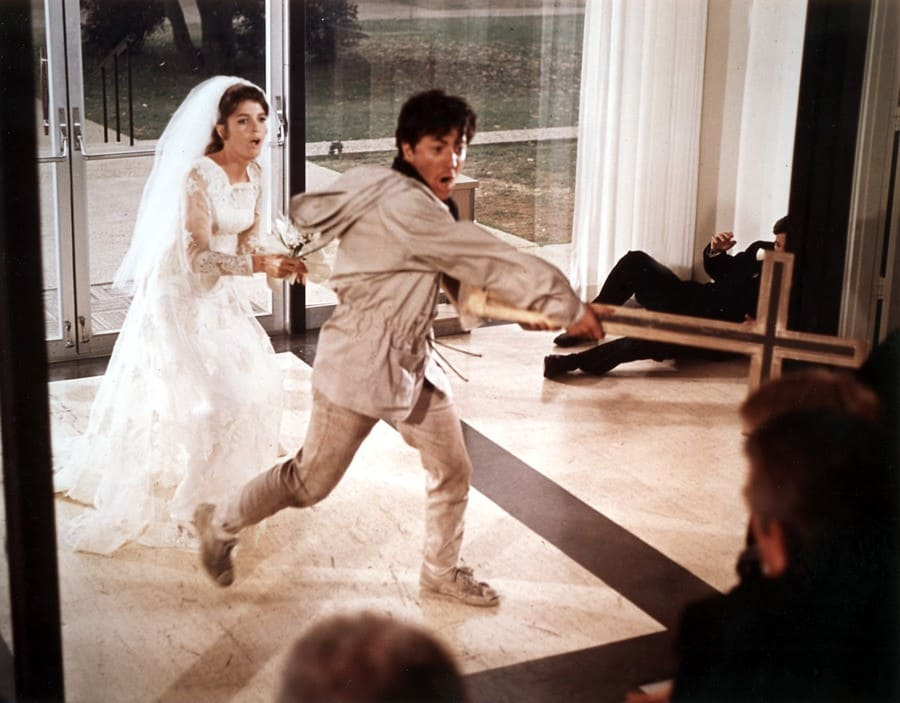 Katharine Ross in a wedding dress chasing after Dustin Hoffman in The Graduate.
