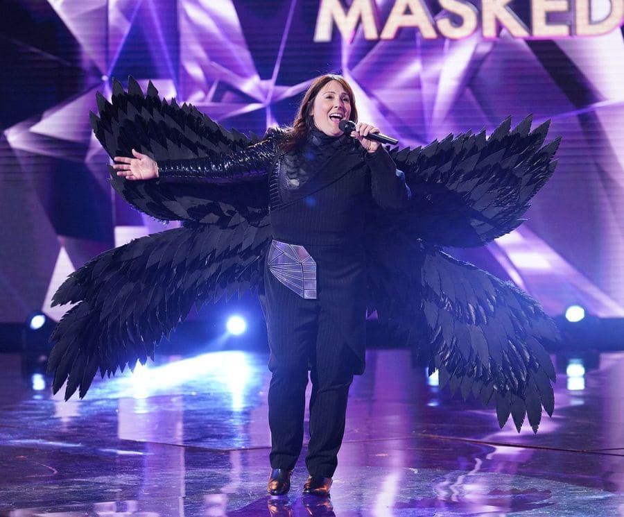 Ricki Lake as the raven on The Masked Singer, with the mask off.