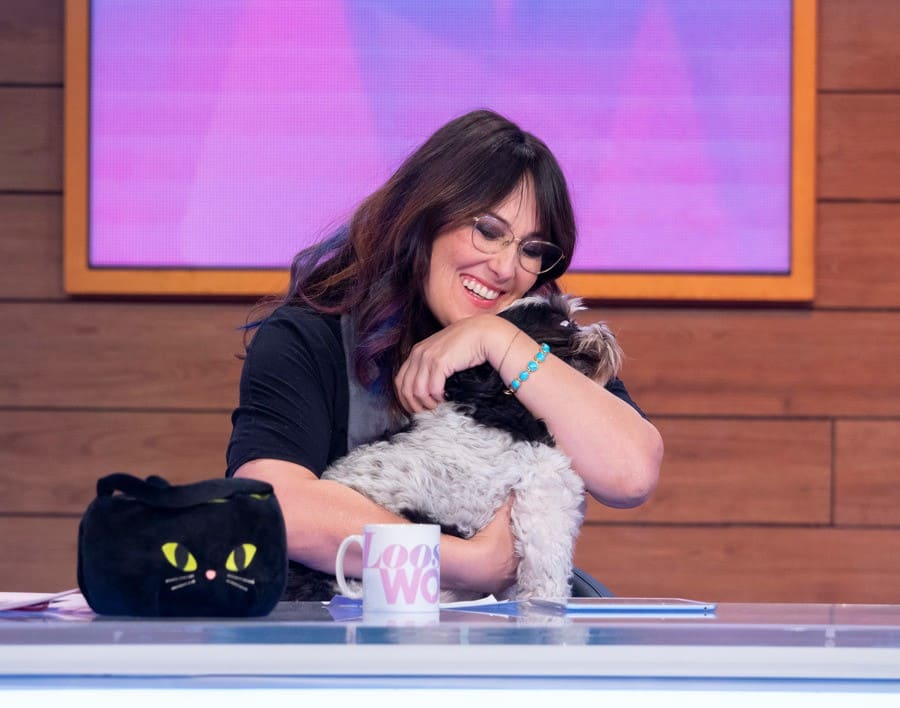 Ricki Lake with her beloved Shih Tzu poodle, Mama, on the Loose Women TV show.