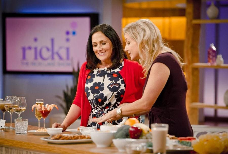 "Ricki Lake with a physician nutrition specialist, Dr. Melina Jampolis, during taping for ""The Ricki Lake Show"" in 2012."