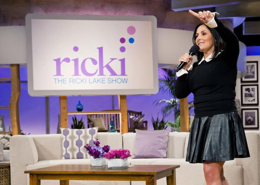 "Ricki Lake, during taping for ""The Ricki Lake Show"" in 2012."