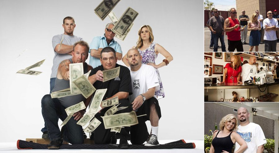 Brandon Sheets, Darrell Sheets, Barry Weiss, Dave Hester, Jarrod Schulz, and Brandi Passante are throwing money around in a promo shot from Storage Wars. / Brandi and Jarrod are posing together / Brandi and Jarrod behind the counter at the thrift shop. / Darrell Sheets, Brandi Passante, and Jarrod Schulz are standing in a crowd on Storage Wars.