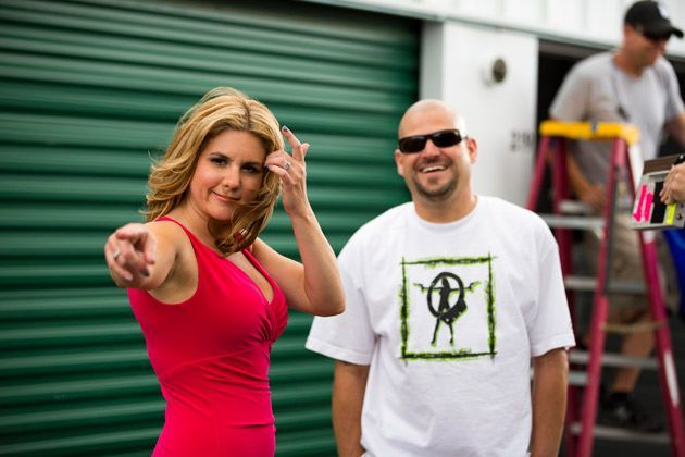 Brandi was pointing, and Jarrod was standing around on Storage Wars.