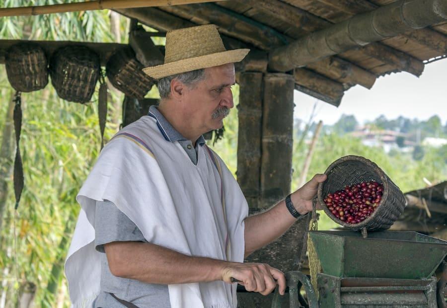 A man preparing coffee for roasting in Columbia