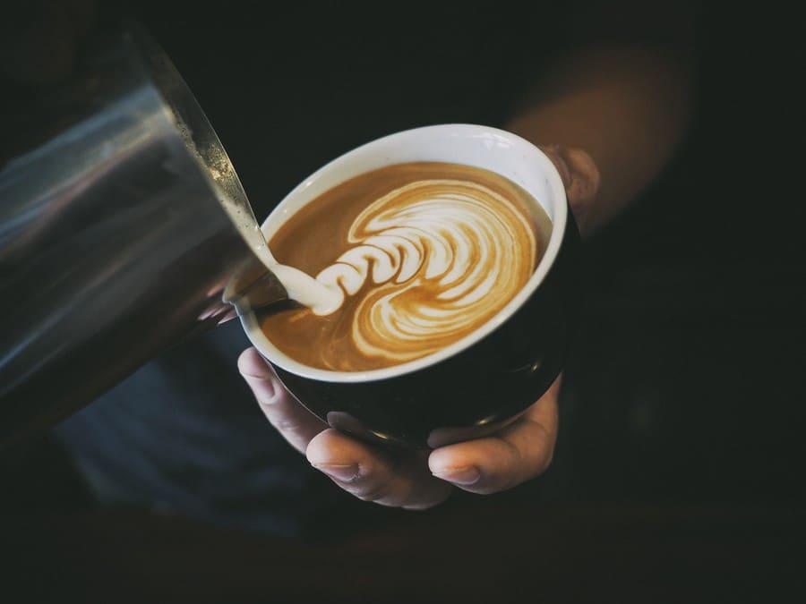 Latte art being made
