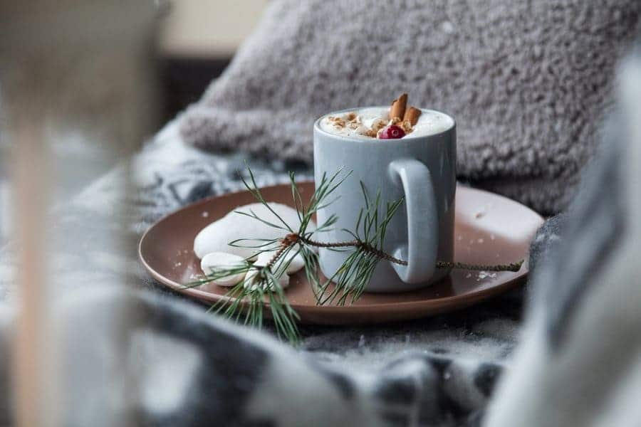 A cozy-looking cup of coffee with cinnamon sticks and some green pine sitting around it