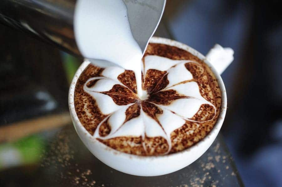 Latte art being created