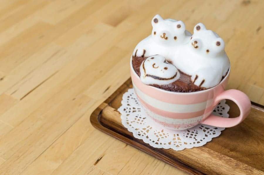 Cute polar bear latte art with a heart