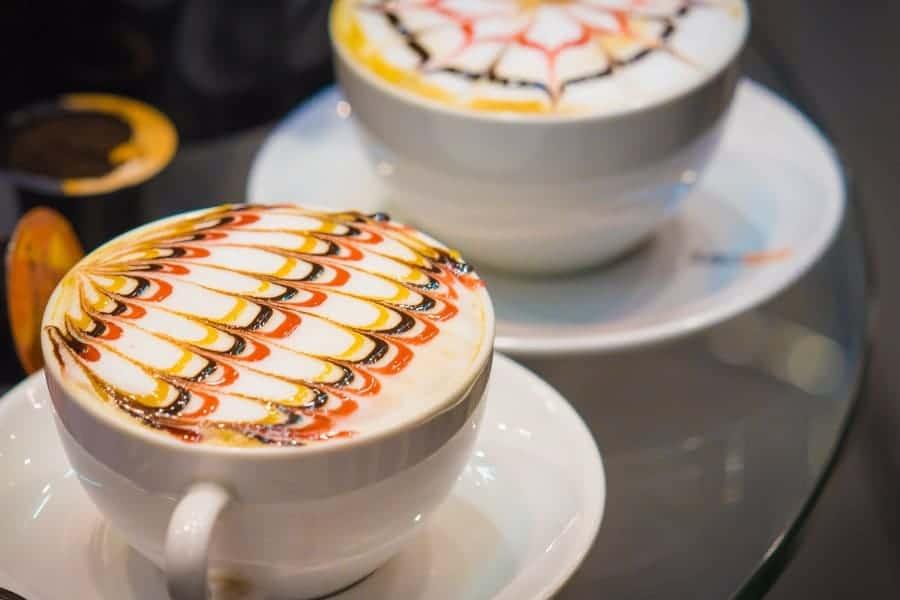 Colorful latte art