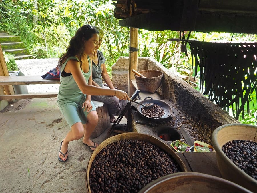 A tourist roasting coffee in Indonesia.