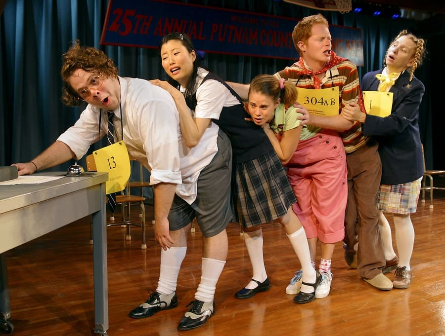 Jesse Tyler Ferguson with the original cast of the 25th Annual Putnam County Spelling Bee.