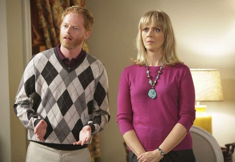 Jesse Tyler Ferguson and Shelley Long in Modern Family, 2009.