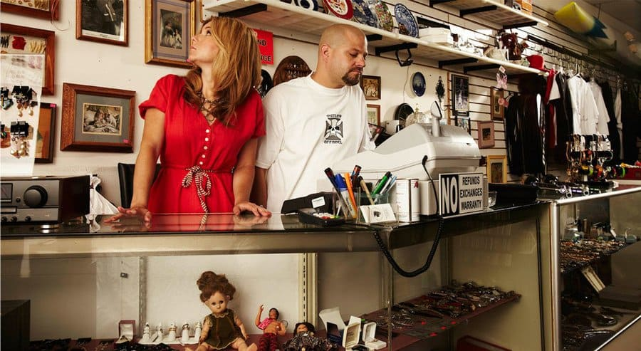Brandi and Jarrod behind the counter at the thrift shop.