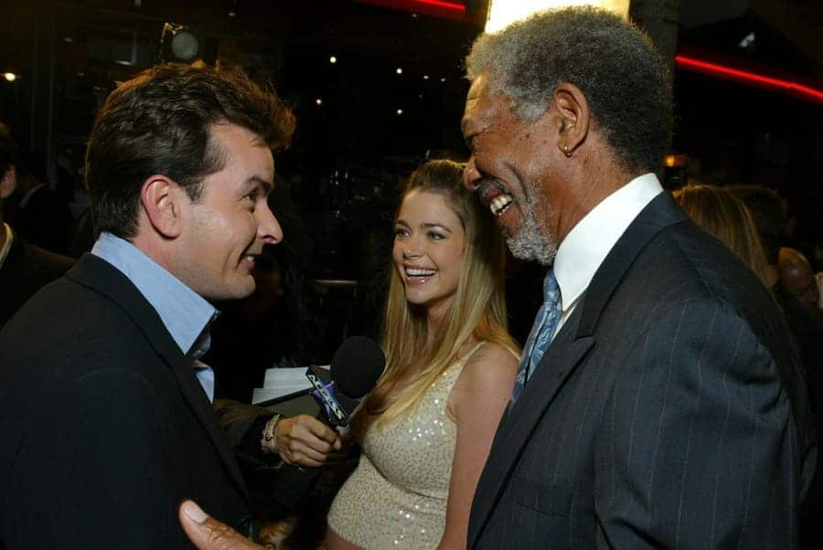 Charlie Sheen, Denise Richards, and Morgan Freeman