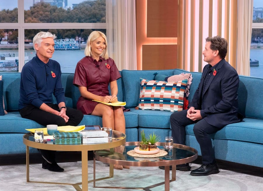 Phillip Schofield and Holly Willoughby with Emilio Estevez