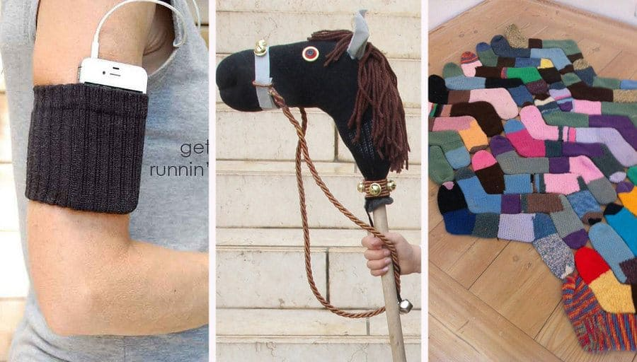 Cell phone inside of a sock armband. / Sock Hobby Horse DIY fit for a king. / Making a rug from old socks.
