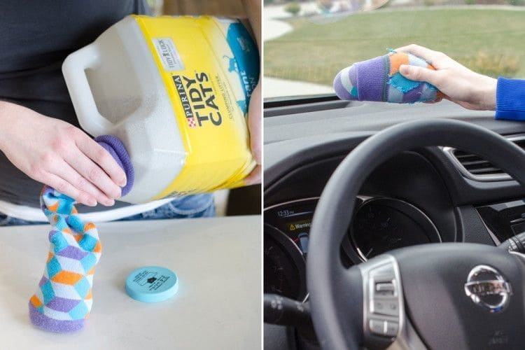 Sock with kitty litter on the car dashboard