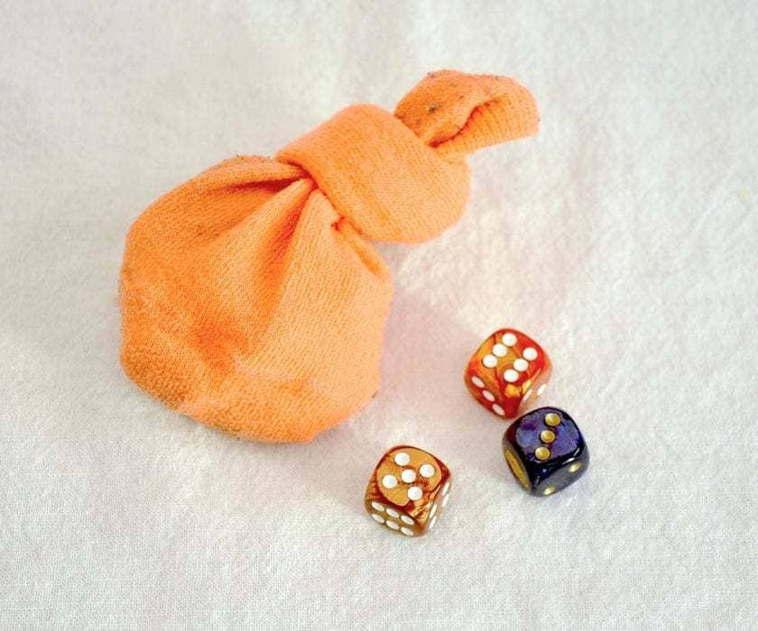 Dice games inside a sock