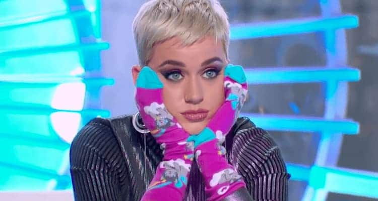 Katy Perry with socks on her hands