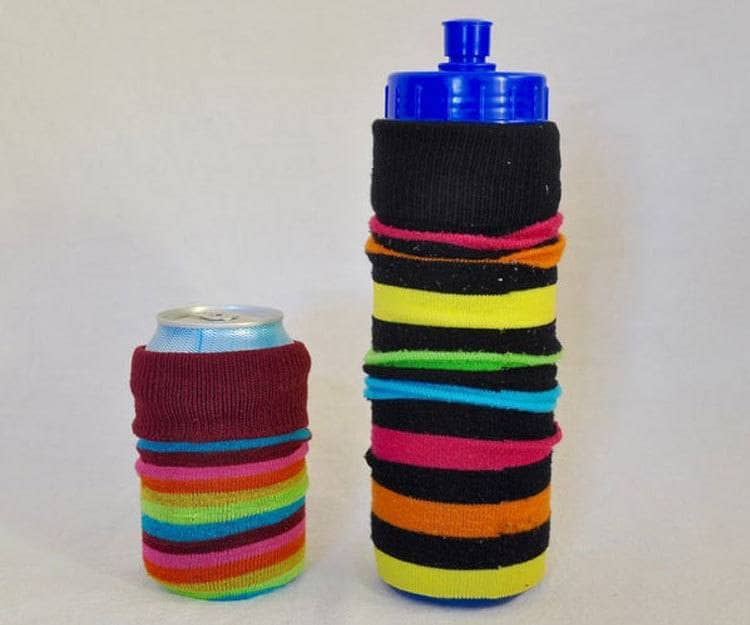A can and a water bottle wrapped with a sock