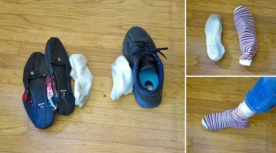 Old socks protecting shoes