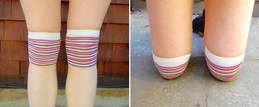 Protect Knees and Pants by using old socks