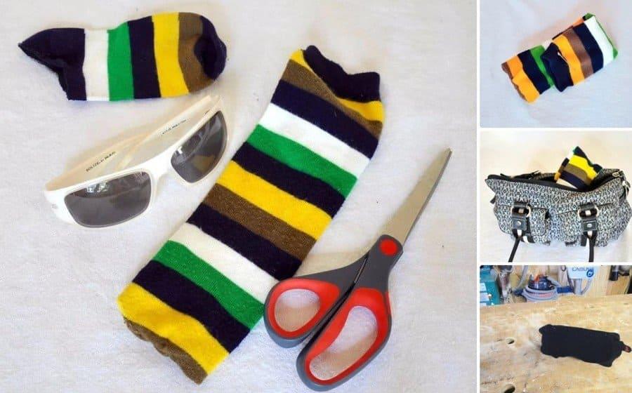 Storing glasses in a sock