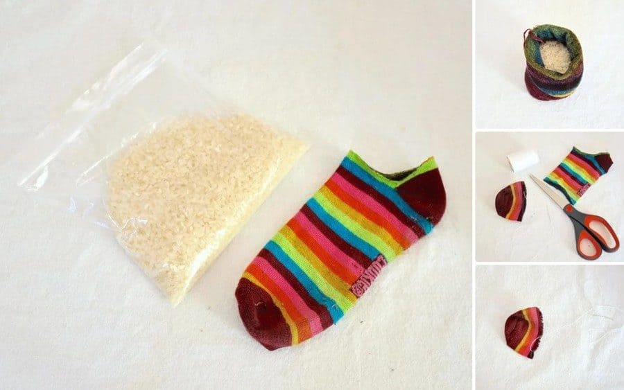 Making a hacky sack from a sock and rice