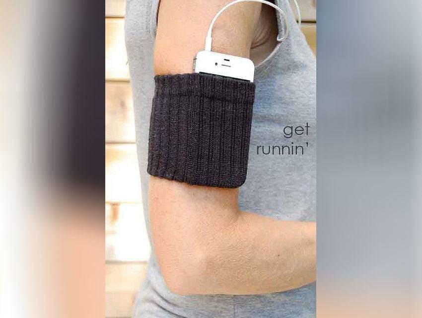 Cell-phone inside a sock armband