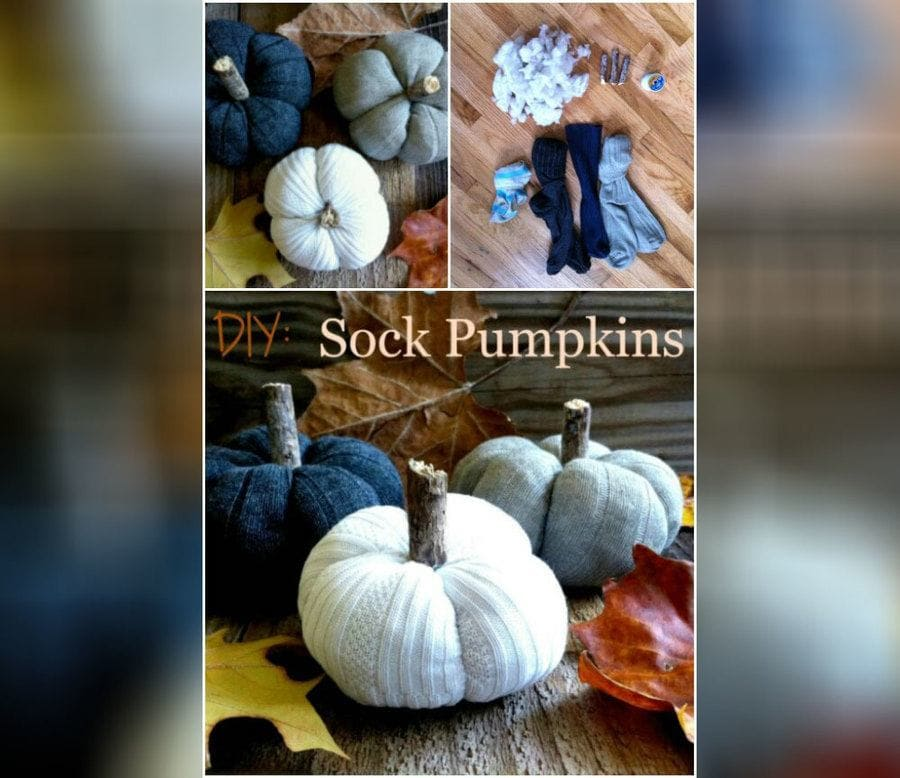Creating a pumpkin out of old socks.