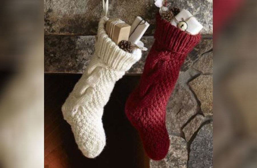 Making stocking ornaments by using an old sock