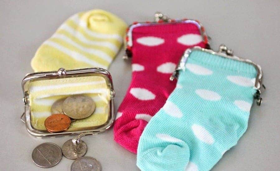 making a coin purse from an old sock