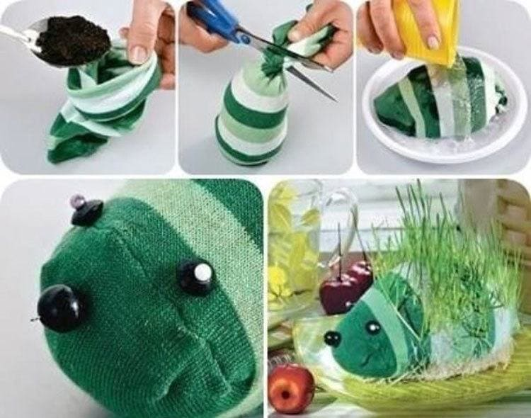Making a Chia pet from an old sock